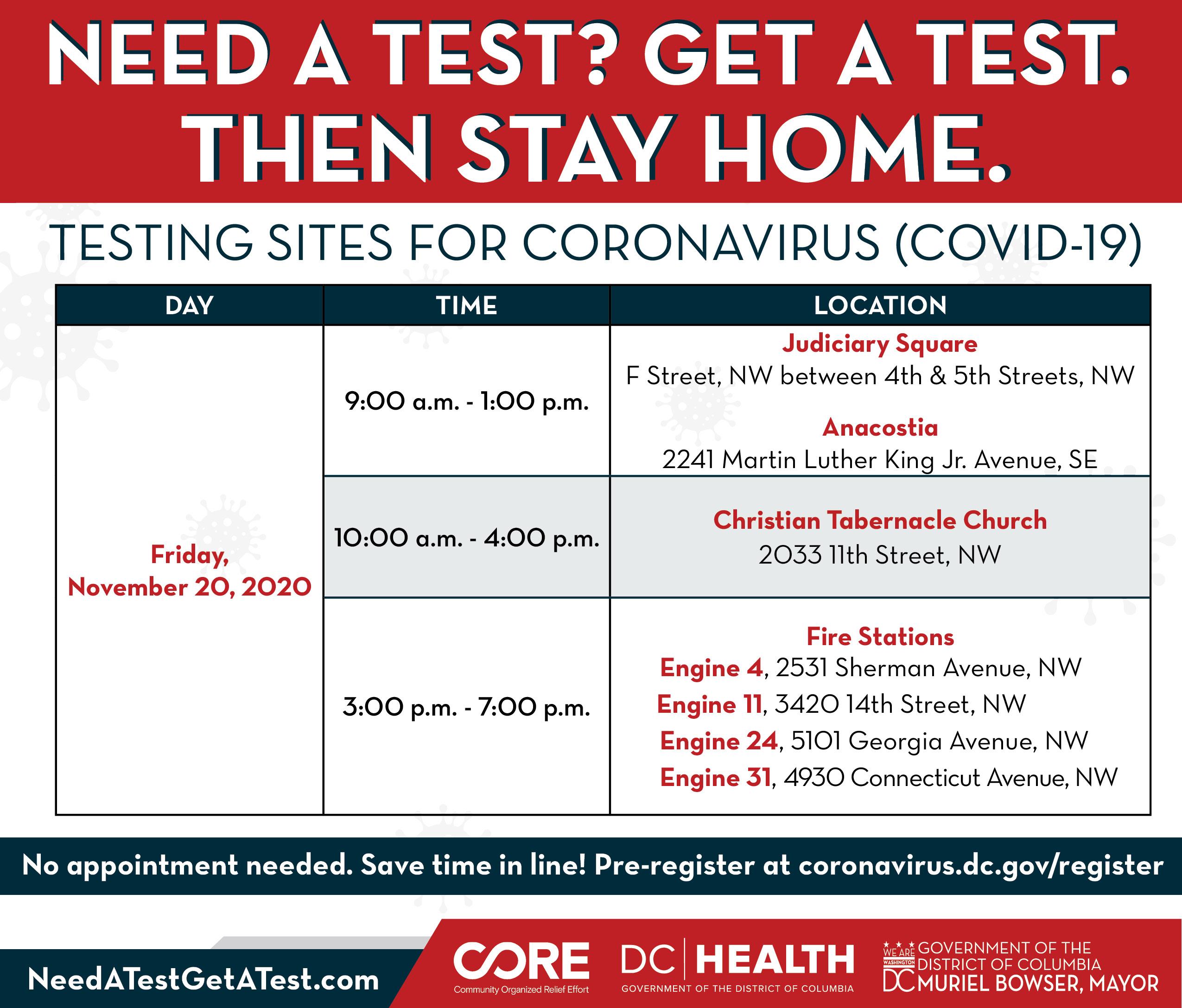 COVID Testing Schedule 11-19-20