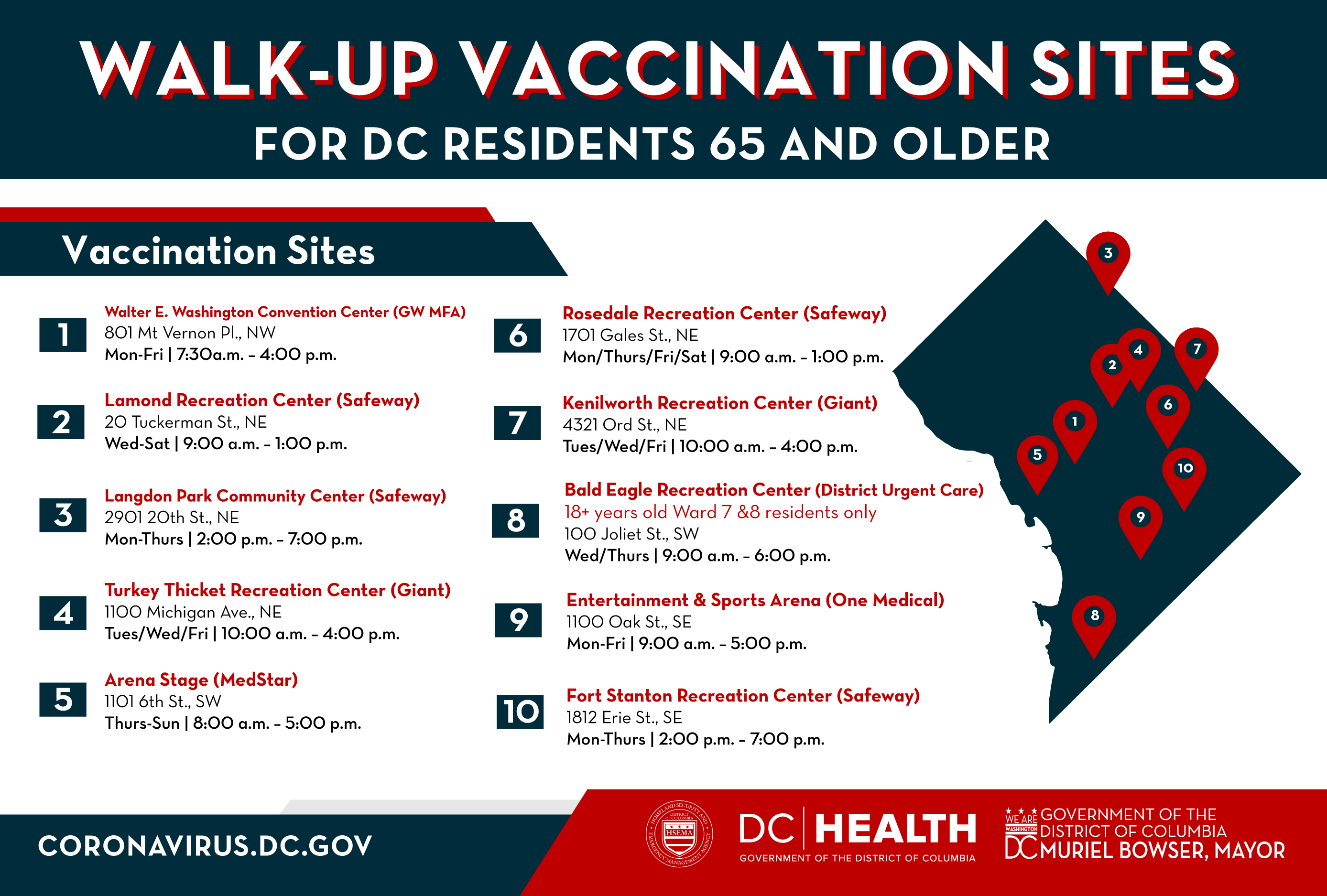 Walk Up Vaccination Sites for DC Residents 65 and Older
